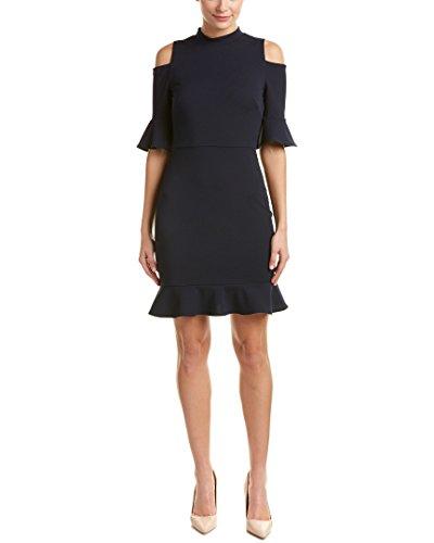 ABS Allen Schwartz Damen Crepe Scuba Kleid mit Schulterausschnitt - Blau - Klein