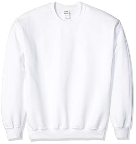Gildan Men's Fleece Crewneck Sweatshirt, Style G18000, White, Large