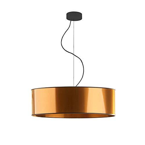 HAJFA fi - Lampada a sospensione in tessuto, 60 cm, paralume in rame, colore nero, 4 x E27