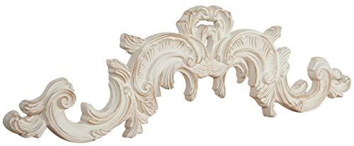 Biscottini Sopraporta Fregio Mensola Decoro Decori da Parete in Legno Finitura bianco Anticato L 90 x PR 3 x H 27 cm Made in Italy