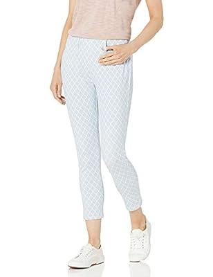 Amazon Essentials Women's Pull-On Knit Capri Jegging, Blue Tile Print, Large Short