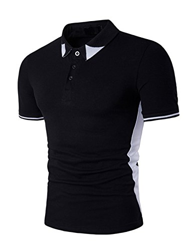 Legou Homme Polos Button-Down Polo-Shirt pour Golf Manche Courte Noir Medium