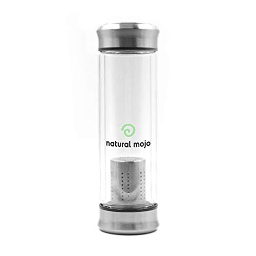 Natural Mojo Tea Infuser Bottle (420 ml) – Thermobehälter mit Deckel – Teeflasche Sieb aus Borosilikatglas – Teeflasche Glas – durchsichtig und silberfarben