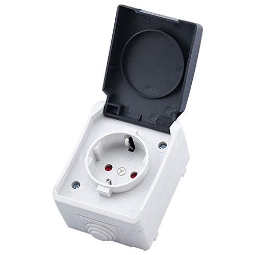 zhangxia Smart Plug Smart Plugs Smart Plug IP44 a Prueba de Agua al Aire Libre Toma de Corriente con la Cubierta, Enchufe de la UE