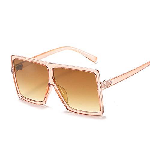 DLSM Fashion Square Gafas de Sol Niños Marco Grande Gafas de Sol Boys Girls Glasses Gradient Espejo Dimensiones Grandes Gafas de Sol-champán