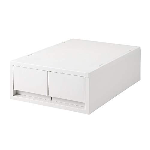 無印良品 ポリプロピレンケース・引出式・浅型・2個(仕切付)・ホワイトグレー 約幅26×奥行37×高さ12cm 02108304