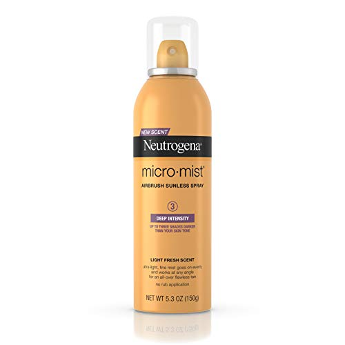 Neutrogena Micromist Airbrush Sunless Tanning Spray with Witch Hazel, Gradual Sunless Tanner with Alcohol-Free, Oil-Free & Non-Comedogenic Formula, Deep Intensity, 5.3 oz (Pack of 3)