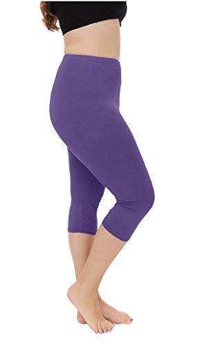 Cheapestbuy Vangee Women's Summer Light Weight Soft Plus Size Capri Leggings Cropped 3/4 Pants Purple