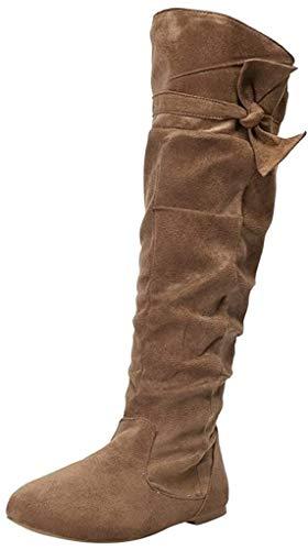 POLP Botas Altas para Mujer Zapatos de Tacón Bajo Botas hasta la Rodilla con Plisadas Casual Zapatos Planos de Fiesta con Cremallera Marrón Caqui