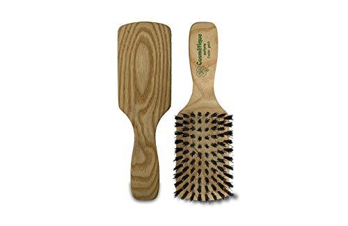 Haarbürste bartbürste harte borsten kurzhaar langhaar eschenholz 8 reihen 100% wildschweinborsten für dickes, dünnes, kurzes und langes haar