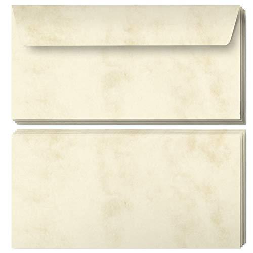 50 Briefumschläge DIN Lang | Marmor Beige | selbstklebend ohne Fenster | Brief-Umschlag mit Design-Motiv bedruckt | 90 g/m²