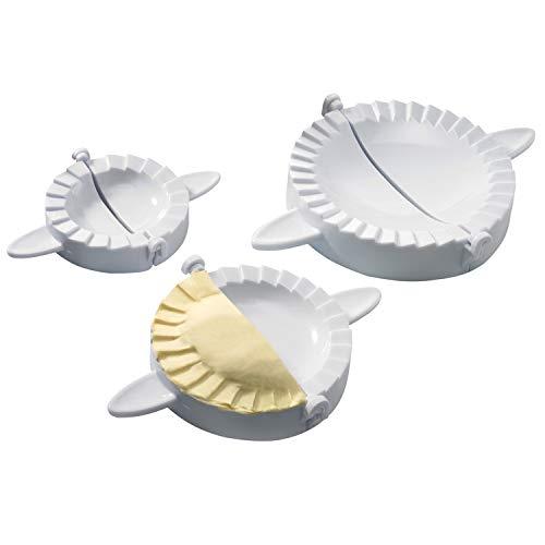 Westmark Set con formine per ravioli, Strumento per empanada/pierogi, Coppapasta 3 pezzi, Ø 9,5/12/15,5 cm, Ricettario, Plastica, Bianco, 61342260