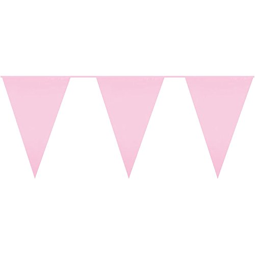 Diamante Crafts 10m / 32 ft Solid Colour Bunting - Flag Banner Pennant Party Decoration Garland (Pink - Solid Colour Banner)