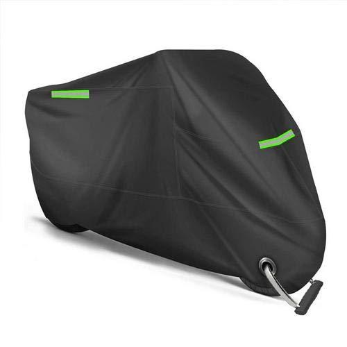 Earlyad Cubierta de la Motocicleta Cubierta de Motocicleta Sun Impermeable Negra para Todas Las Estaciones, Resistente al Aire Libre Resistente a los Rayos UV, Material Resistente al Cost-Effective