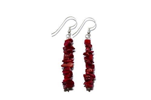 Coral gota pendientes, natural, rojo, rotura pieza, 5-8 mm, plata 925