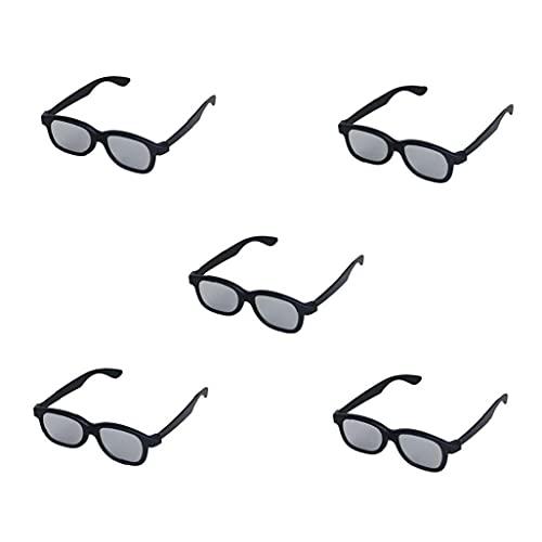 LAANCOO 5 Paar Erwachsene Passive zirkular polarisierte Objektiv 3D-Brille für Film/Kino/Theater / 3D TV / 3D-Projektor - Schwarz Kunststoff