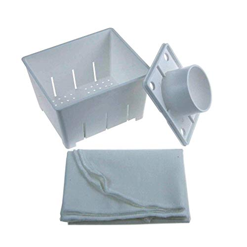 Handy Pantry Plastic Tofu Mold/Press with Cheesecloth - 5'x4'x3' - Makes Over 2 Lbs of Tofu Per Batch - Dishwasher Safe - Reusable