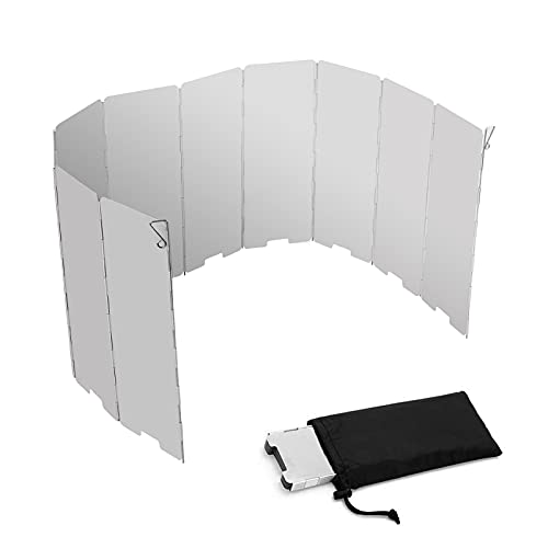 Parabrisas de Camping al Aire Libre,33x9.4 Pulgadas de Aluminio Cincho de Aluminio Cocinar Parabrisas,10 Placas Plegables Acampar Bolsa de cordón para Picnic para Barbacoa Cocina de Senderismo