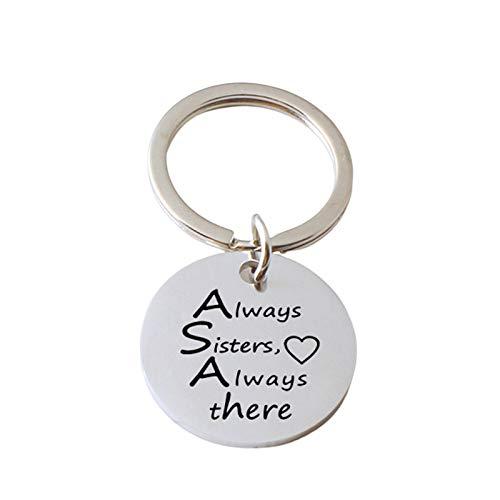 HIUYOO Schlüsselanhänger Paar Silber Runde Tag Gravur Always Sister Love Always. Edelstahl Schlüsselanhänger Fahr Vorsichtig Schlüsselbund Silber