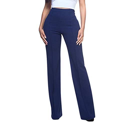 Muyise Damen Casual Schlaghose Lange Hosen Anzughose High Waist Flare Palazzo-Hose Weitem Bein Freizeithose Solid Lose Beiläufige Plus Size Weite Hose Trousers Pants(Marine2,L)