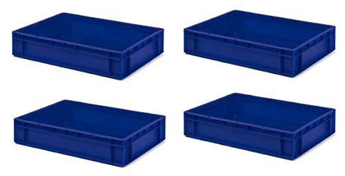 4 Stk. Transport-Stapelkasten TK612-0, blau, 600x400x120 mm (LxBxH), aus PP, Volumen: 22 Liter, Traglast: 40 kg, lebensmittelecht, made in Germany, Industriequalität
