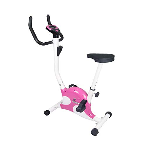 JJSFJH Exercise Bike,Ultra-quiet Webbing for Rehabilitation Training,Pulse Rate Monitoring,300 Lb Capacity,Digital Monitor and Quick Adjustable Seat (Color : Pink)