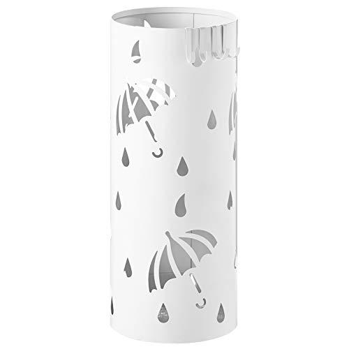 WOLTU SST01ws Portaombrelli Supporto da Appoggio per Ombrellone Contenitore Tondo in Ferro Bianco