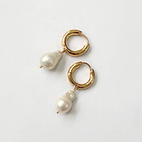 NOBRAND Pendientes De Mujer Aretes Colgantes De PerlasNaturales DeAgua Dulce Aretes Pequeños De Oro con Círculo Pequeño Y Blanco para Mujer