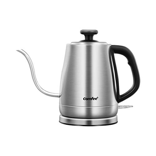 COMFEE' MK-12S07A Gooseneck Electric Kettle Stainless Steel Drip for Pour Over Coffee and Tea, Feature and Thermometer Gauge on Top, 1.2 L, 1500W Fast Boiling. BPA Free