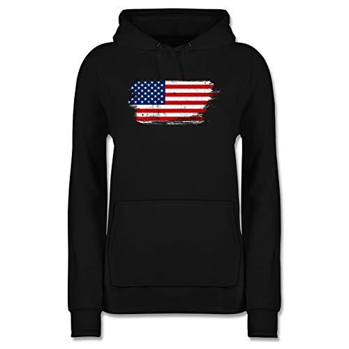 Länder - USA Vintage - S - Schwarz - Sweatshirt Damen - JH001F - Damen Hoodie und Kapuzenpullover für Frauen