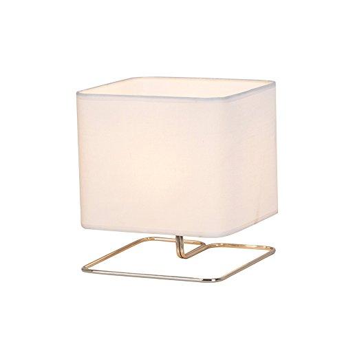 Pointhx Lámpara de mesa de hierro minimalista moderna Edison Lámpara de mesa de noche 1 luz de mesa con luz de tela cuadrada de Flaxen para aparador