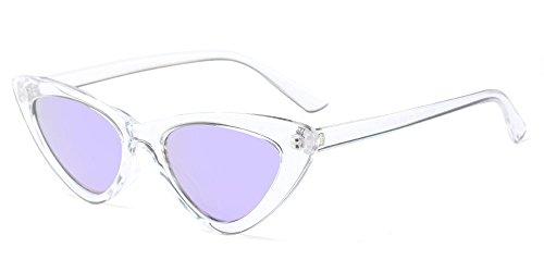 KINDOYO Femmes Vintage Lunettes à verres Dames Rétro Mode Triangle lunettes de soleil, Blanc/Violet