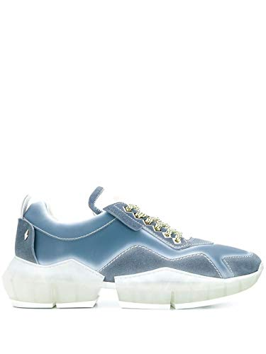 JIMMY CHOO Luxury Fashion Herren DIAMONDMPIUDENIM Blau Leder Sneakers | Frühling Sommer 20
