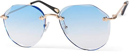 styleBREAKER Damen Piloten Sonnenbrille Rahmenlos mit getönten Gläsern im Diamant Schliff, Geprägte Bügel, Vieleckige Gläser 09020106, Farbe:Gestell Gold / Glas Blau Verlauf