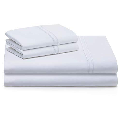 MALOUF Supima Premium Cotton Sheets-100 Percent American Grown Long Staple-Sateen Weave-Extra Deep Pockets-Single Ply-600 Thread Count-Split King-White, Split King