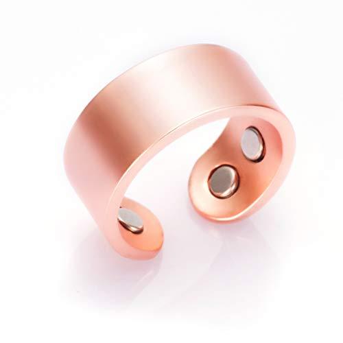 Anillo magnético de cobre puro para hombre, 9 mm, energía de salud mate, 4 unidades, puño abierto, ajustable, alivio del dolor de artritis