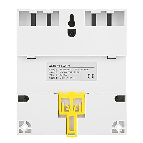 SUCIE Relé de Tiempo programable, Interruptor de Temporizador de 380 V, 16 A 380 V para Bomba de Agua, Interruptor Inteligente, Interruptor de Control de Tiempo de Motor trifásico