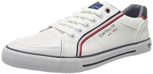 TOM TAILOR Herren 8080809 Sneaker, Weiß (White 00002), 43 EU