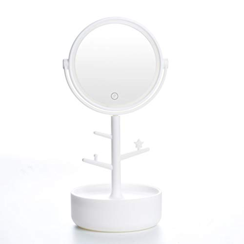 QXHELI Spiegel - Smart Touch make-up spiegel met LED tafellamp Portable Desktop Spiegel Beauty make-up spiegel met opbergbox verstelbare ABS spiegel te voet stand begroenen (kleur: groen)