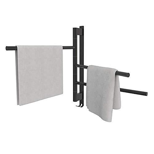 FMOGE Toallero eléctrico para baño con termostato Interruptor de Modo múltiple de un botón Toallero de baño de Acero Inoxidable Negro Giratorio de 180 Grados,Calientatoallas