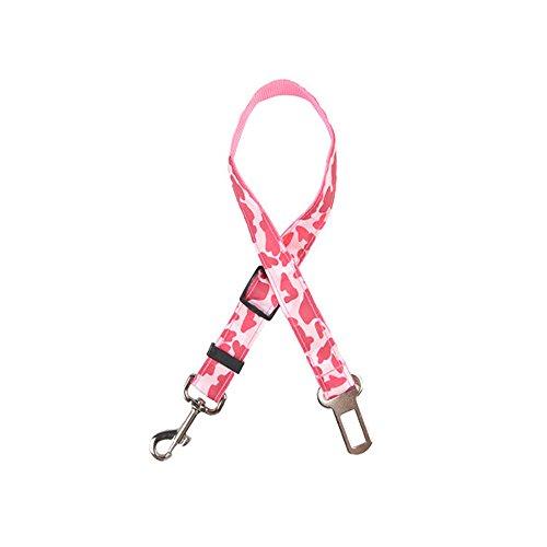 Yowablo Einstellbare Haustier Hundeleine Auto Sicherheitsgurt Rückhalteleine Reise (35-60cm,Rosa)