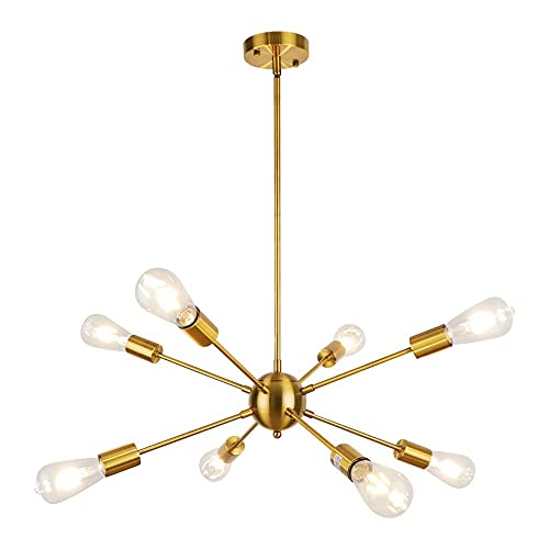 SISVIV Sputnik Lámpara de Techo Araña Moderna 8 Brazos Lampara Colgante Vintage...