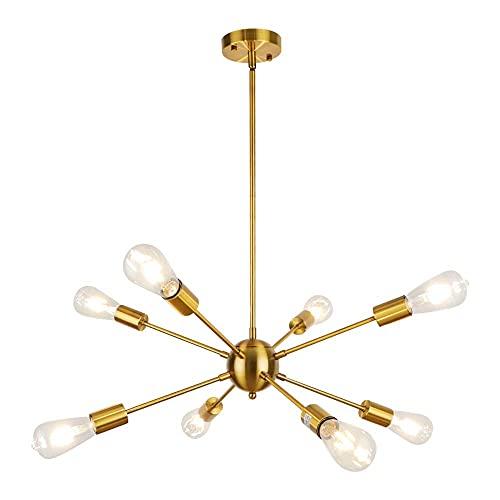 SISVIV Sputnik Lámpara de Techo Araña Moderna 8 Brazos Lampara Colgante Vintage Industrial Iluminación de Metal para Salon Comedor Cocina Dormitorio Dorado E27