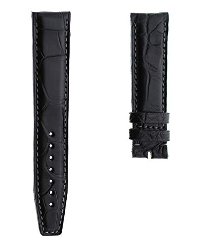 Correa de piel de cocodrilo negro 20mm Iwc estilo portugués costuras grises