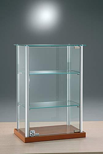 MHN Vitrina pequeña de cristal – Vitrina de mesa de aluminio con...