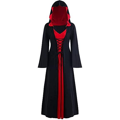 zhaolian888 Vestido medieval de talla grande de Halloween Vestido con capucha de manga larga Vestido largo vintage Vestido de fiesta de cosplay para mujer