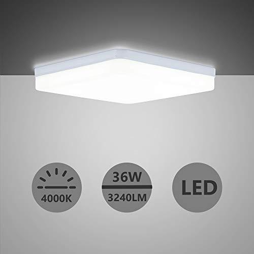 Yafido LED Deckenlampe Ultra Slim 36W 3240Lm UFO LED Panel 4000K Neutralweiß LED Deckenleuchte für Wohnzimmer Schlafzimmer Flur Büro Küche Küche Balkon und Esszimmer Nicht-dimmbar 23 * 23 * 4cm