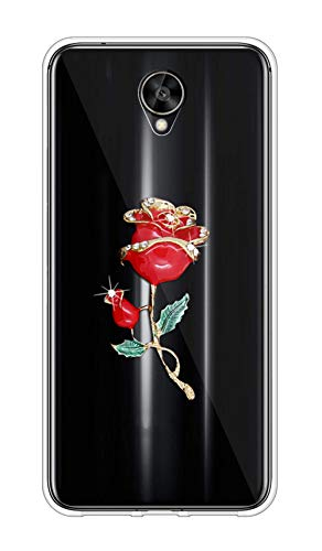 Sunrive Kompatibel mit Meizu M5s Hülle Silikon,Glitzer Diamant Strass Transparent Handyhülle Schutzhülle 3D Etui handycase Hülle (Goldene Rose) MEHRWEG