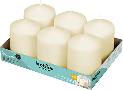 BOLSIUS Ivory Pillar Candles – 3x4 Unscented Candle Set of 6 – Dripless, Smokeless, and Clean Burning Household Dinner Candles – Perfect for Weddings, Parties, Dinners Decorative Candles