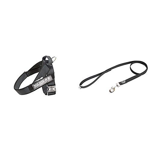 Arnés para cinturón de seguridad JULIUS-K9 y Correa para Perro, con Mango y Junta Tórica - color negro - talla: 1